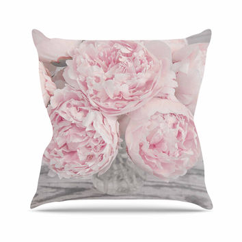 "Suzanne Harford ""Pink Peony Flowers"" Floral Photography Outdoor Throw Pillow"