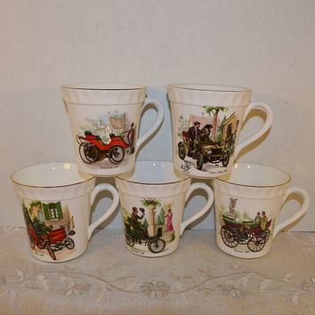 Staffordshire Bone China Coffee Cups Set 5 Vintage Crown Antique Cars Mugs 5 Made in England Rolls Royce Diamler Lanchester Locomobile Benz