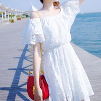 Off Shoulder Lace Package Hip Dress