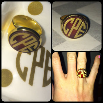 Monogram Statement Ring / Gold / Tortoise / Personal / Adjustable
