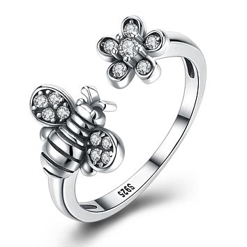 925 Sterling Silver Unique Casual Rings Swarovski Bumble Bee Adjustable Ring