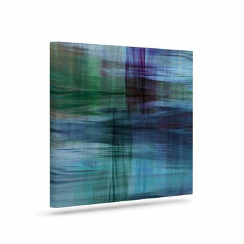"""Ebi Emporium """"COLOR BLUR, TURQUOISE BLUE"""" Blue Green Abstract Modern Watercolor Mixed Media Art Canvas"""