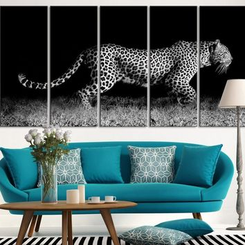 Extra Large Wall Art At Night Hunting Leopard Canvas Print Framed 5 Panel Canvas | Africa Leopar Canvas Painting - MC133