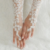 Wedding Glove, ivory lace gloves, Fingerless Glove, ivory wedding gown, UNIQUE Bridal glove, wedding bride, bridal gloves, Free Ship