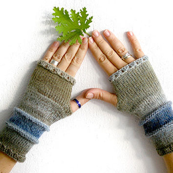 Fingerless gloves mittens in grey and blue,  fingerless mittens, knit fingerless glove, crochet fingerless gloves, fingerless arm warmers