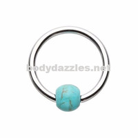 Synthetic Turquoise Bead Captive Ring 16ga Cartilage Tragus Daith Helix Rook