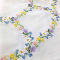 Vintage Embroidered Tablecloth - Hand Embroidered Tablecloth - vintage table cover - spring flowers, Afternoon Tea