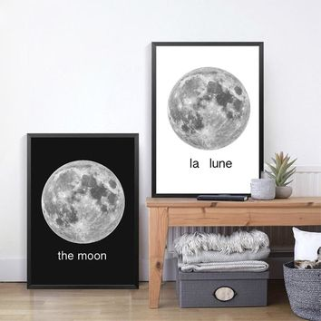 Moon Space Poster Wall Art Prints Canvas Painting Wall Pictures For Living Room Nordic Decoration Moon Wall Art Decor
