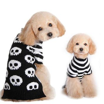 DCCKH6B Pet Dog Clothes Winter Puppy Cat Dogs Clothing Halloween Skeleton Sweater Warm Dogs Pets Clothing PT1079