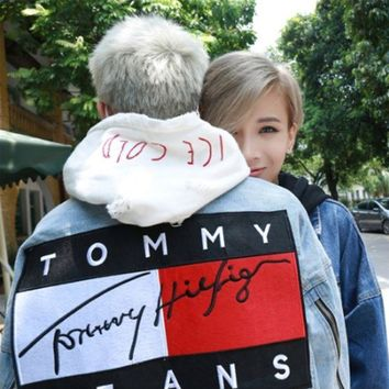 Tommy Hilfiger 2018 Fashion Women Men Denim Cardigan Top Jacket Coat