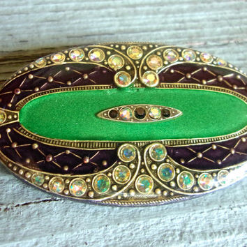 CATHERINE POPESCO Green Enamel Art Deco Brooch, AB Crystals, Trombone Clasp, Vintage