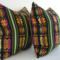 Tribal Pillow, Geometric Decorative Pillow, Aztec, Mexican, Bright,  14x14 Inch