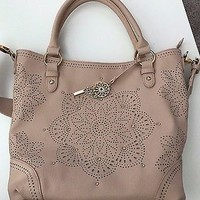 EUC Jessica Simpson Pale Pink Cutout Purse Handbag