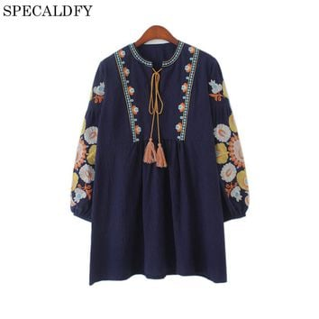 2017 New Fashion Ethnic Boho Embroidery Blouse Women Tops Lantern Sleeve Lace Up Vintage Casual Loose Long Shirt Blusa Feminina