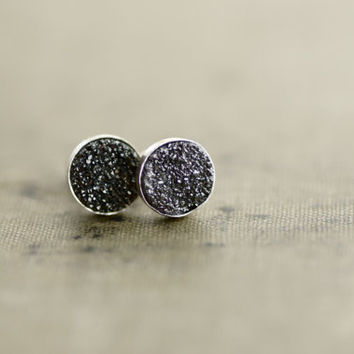 Black Druzy on Sterling Silver Studs - Round Gemstone