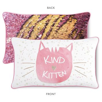 KIND Kitten Pillow w/ Reversible Pink and Gold Sequins (Cover + Insert)