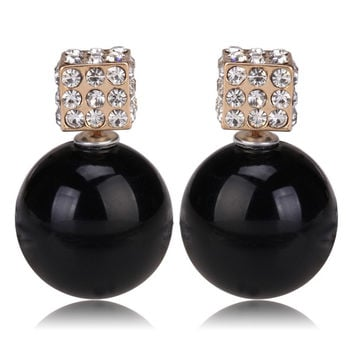 Gum Tee Tribal Earrings - Crystal Dice and Pearl Black