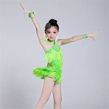 100-160cm Girls Fairy Lithe Christening Fringe Paillette Latin Dance Dress Tassel Salsa Kids Ballroom Dresses Tango Costume