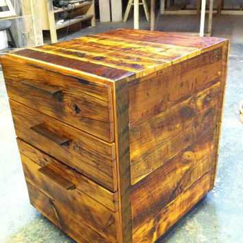 Reclaimed Wood Office File Cabinet by GreenFurnitureDesign on Etsy