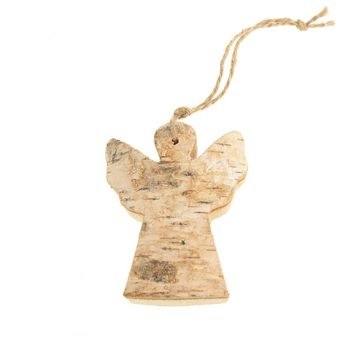 Wooden Angel with Birch Christmas Ornament, Natural, 3-Inch