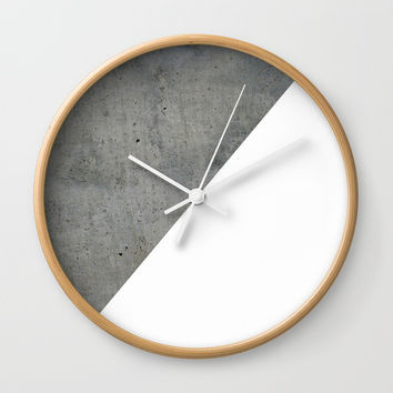 Concrete Vs White Wall Clock by ARTbyJWP