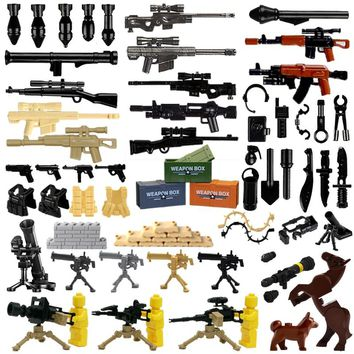 2018 Weapon Pack MOC Gun Building Blocks City Police Swat Team WW2 Soldier Accessory Figure Series Toys LegoINGlys Military Army
