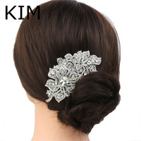 Women Bridesmaid Wedding Leaf Hair Accessories Clear Flower Hair Comb Tiara Drop Rhinestone Crystal Bridal h Jewelry