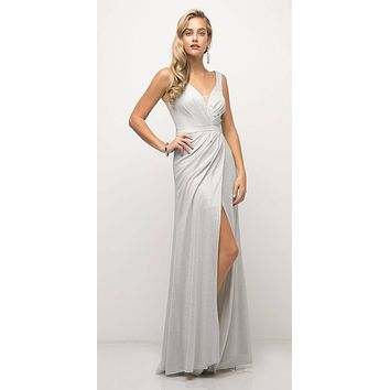 Ruched V-Neck Evening Gown with Front Slit Silver