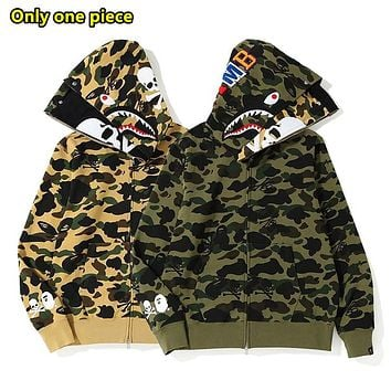 Autumn and winter bape fashion double hat contrast color skull couple jacket hoodies