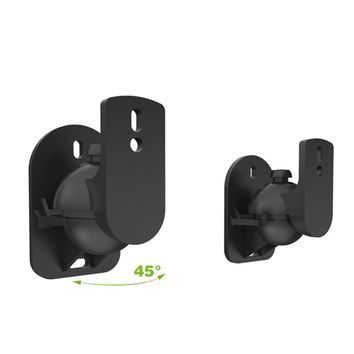 RC Turtle® - 2pcs Black Surround Sound Speaker Wall Mount Brackets 45 Degree Rotatable Design TV Wall Mount 8 x 4.5 x 5.8cm Mayitr