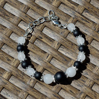 Onyx and Jade Bracelet ~ Black and White Stones ~ Statement Jewellery ~ Gala Evening Wear ~ Elegant Gift ~ Rockhound Present ~ Mother In Law