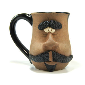 Extra large mug - Large ceramic mug - Face mug black - 26 ounce mug - Black pottery mug - XL Face mug - Novelty coffee mug Big stoneware mug