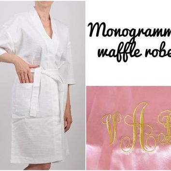 Personalized bathrobes, Bridesmaid waffle robes, Bridal Party robes, Bridemaids robe, Maid of Honor robe, Mother of the Bride robe, Monogram