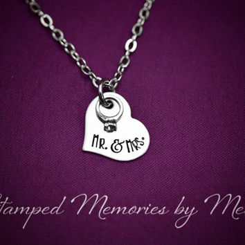 Mr. & Mrs. - Wedding Ring - Hand Stamped Stainless Steel Heart Necklace - Anniversary, Engagement, Marriage Jewelry - Just Married Necklace