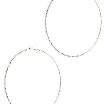 Pave Crystal Stone Hoop Earrings