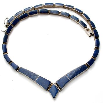 Inlay Blue Lapis Necklace 950 Sterling Silver