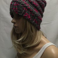Knit Slouchy Hat Beanie Beehive Gray And Neon Pink Flamingo Warm And Cozy