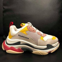NIB Balenciaga Triple S Sneaker Womens Grey Yellow Leather Speed Flat Trainer 38