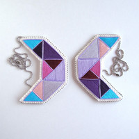 Embroidered geometric statement bib necklace in lavender, purples, pink and blue on cream muslin with felt backing on silver ball chain
