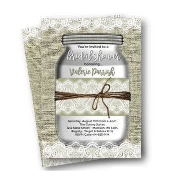 Rustic Bridal Shower invitation mason jar burlap and lace printed or printable options for bridal shower invite whimsical mason jar invite