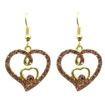 Pink Double Heart Pave Crystal Stone Earring