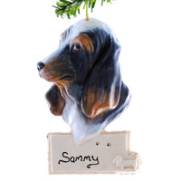 Basset Hound Christmas Ornament - personalized ornament - tri colored basset hound ornament