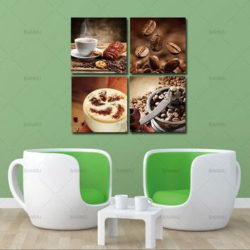 Canvas Paintings Wall Art Pictures Home Decor 4pcs Contemporary Prints Coffee and Coffee Bean on Canvas Art Giclee No Frame