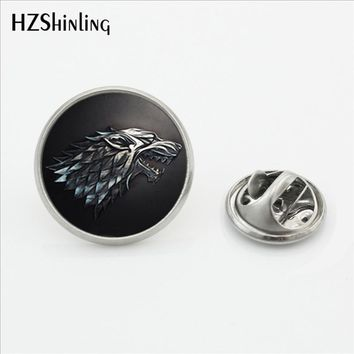 2017 New Arrival Game of Thrones Lapel Pin Fashion Jewelry Glass Dome Dragon House of Stark Stainless Steel Collar Pin Brooch