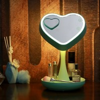 LED Lighted Makeup Mirror Heart Shaped with Removable 3X Magnification Pocket Spot Mirror,Rotated in 180 degrees,Rechargeable Ciway Cosmetic Reading Lamp Atmosphere Lamp with Storage Tray (Green)