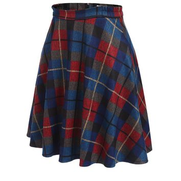 HOTOUCH Women's Wool Skirt A-Line Pleated Vintage Plaid Winter Swing Skirts Blue XL