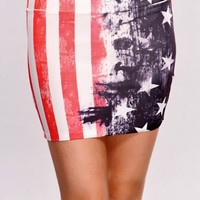 Red Multi Flag Print Sexy Mini Skirt