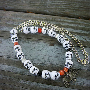 Halloween Silver Bat Charm and White Skull Bead Necklace Christmas in July