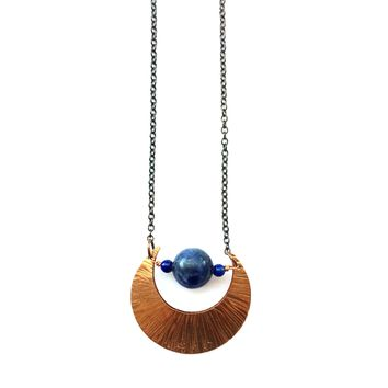 Blue Moon Necklace, Copper and Sodalite, Bohemian