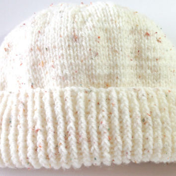 Hand Knitted Woolly hat, rib detail, cream with coloured flecks, medium to large, twisted rib design, warm winter hat